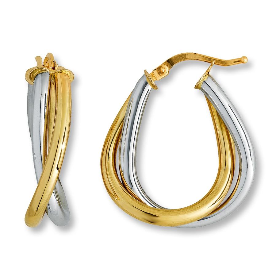 jared hoop earrings 14k two tone gold
