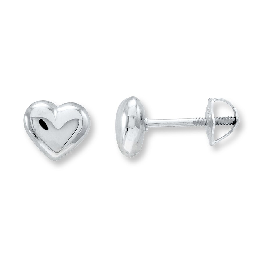Puffed Heart Earrings 14k White Gold