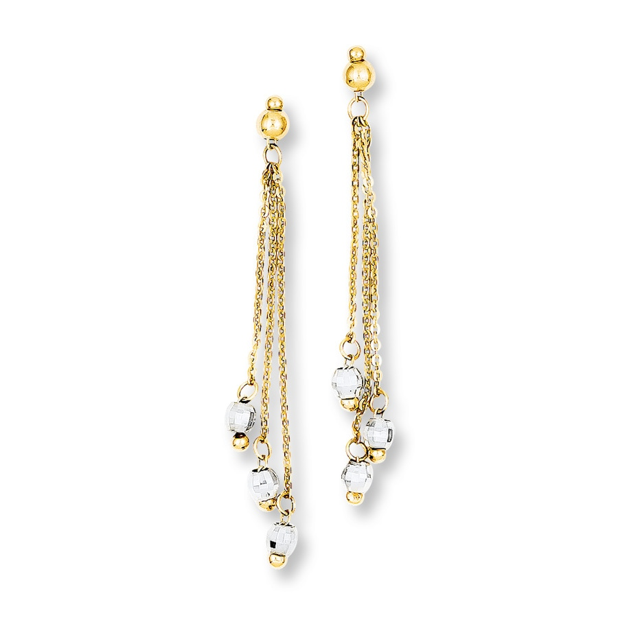 two earrings cable chain earrings 14k two tone gold 392532709 jared 8620