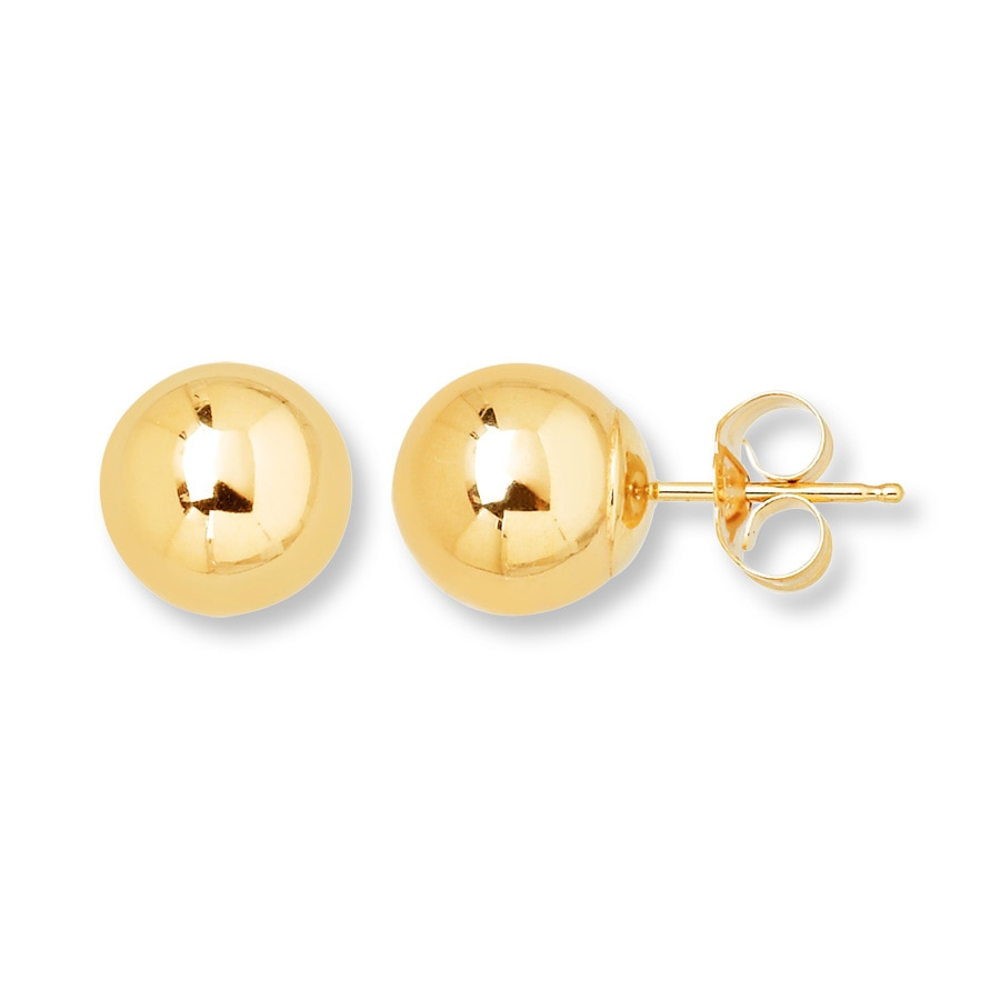 Ball Stud Earrings 8mm 14k Yellow Gold Tap To Expand