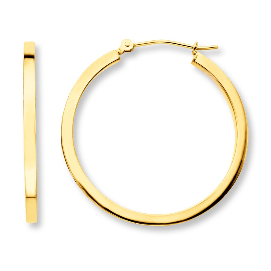 Hoop Earrings 14k Yellow Gold 30mm