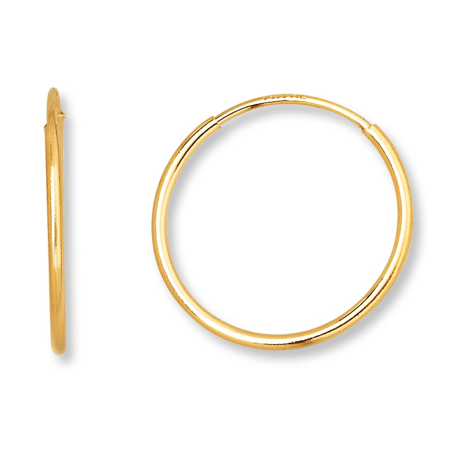 Endless Hoop Earrings 14k Yellow Gold 12mm