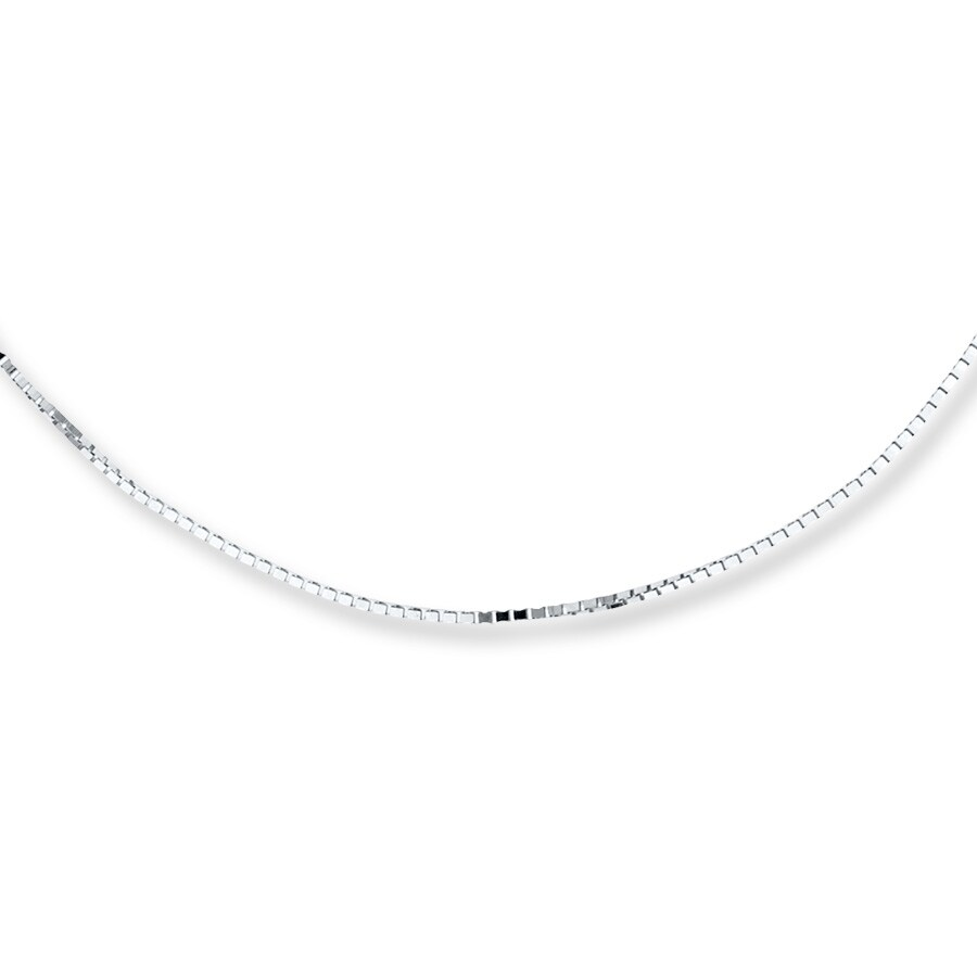 "White Gold Chain Bracelet: Box Chain Necklace 10K White Gold 22"" Length"