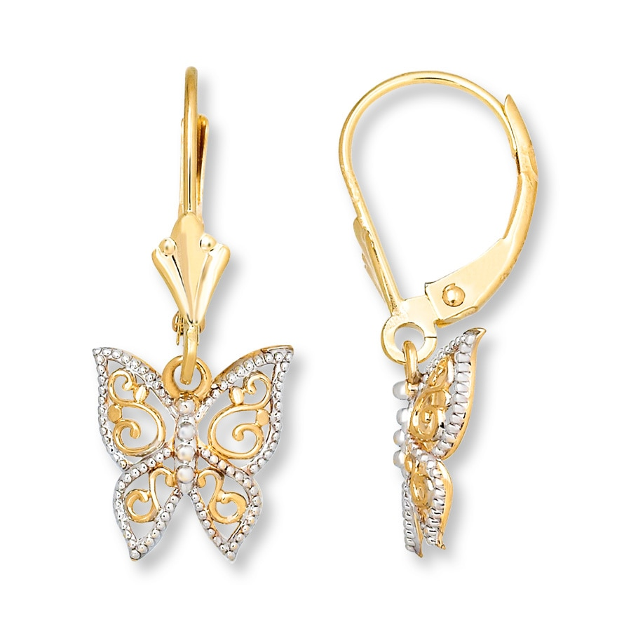 Erfly Dangle Earrings 14k Yellow Gold Tap To Expand
