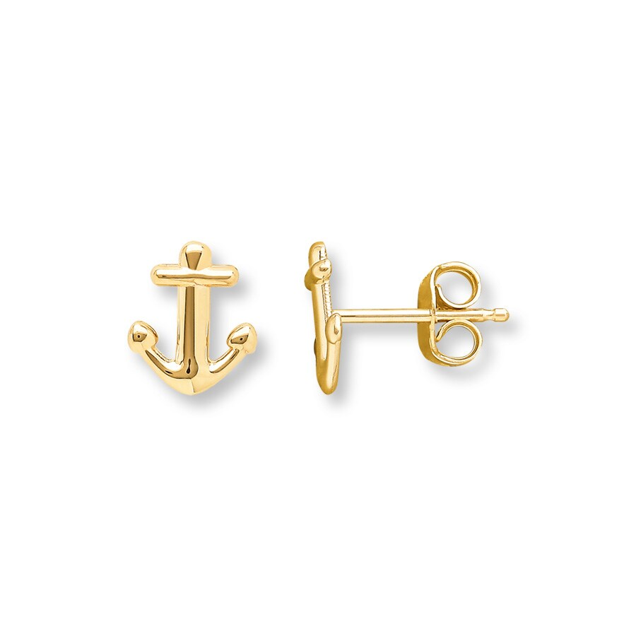 Jared Young Teen Anchor Earrings 14K Yellow Gold