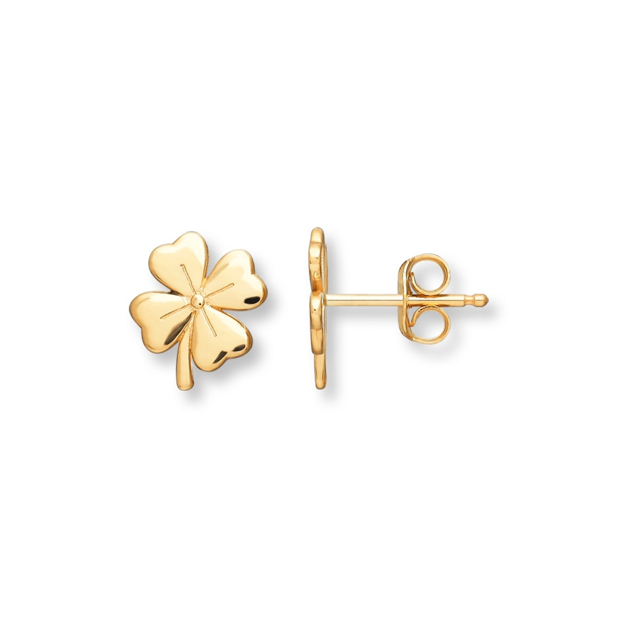 Young Four Leaf Clover Earrings 14k Yellow Gold Tap To Expand