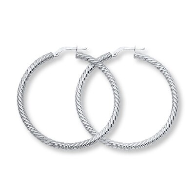 Hoop Earrings 14K White Gold 40mm