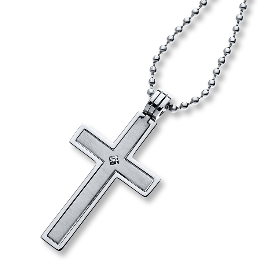 jared s cross necklace accent stainless steel