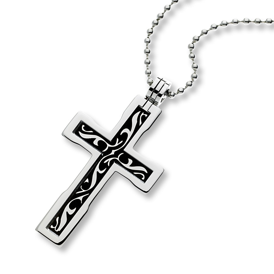 jared s cross necklace stainless steel
