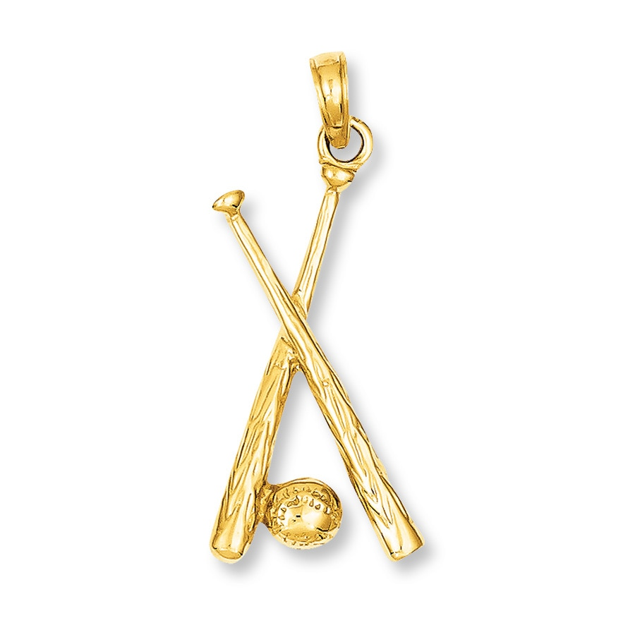 Jared baseballbat charm 14k yellow gold hover to zoom aloadofball Gallery