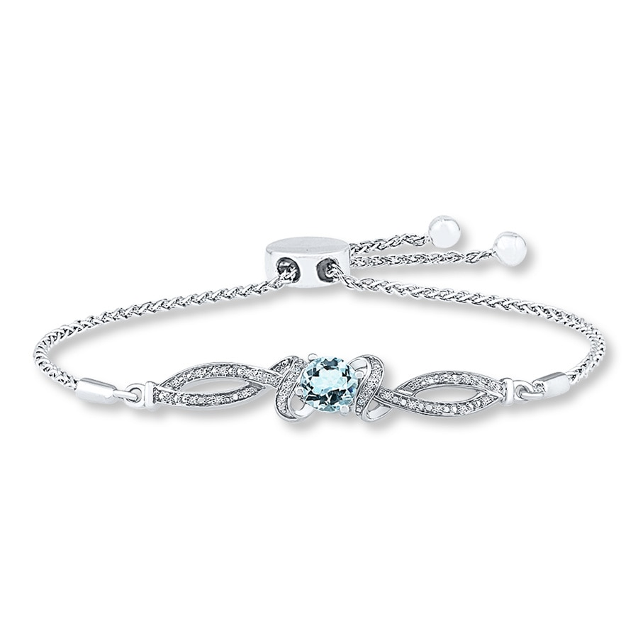 Aquamarine Bolo Bracelet 1 15 Ct Tw Diamonds Sterling