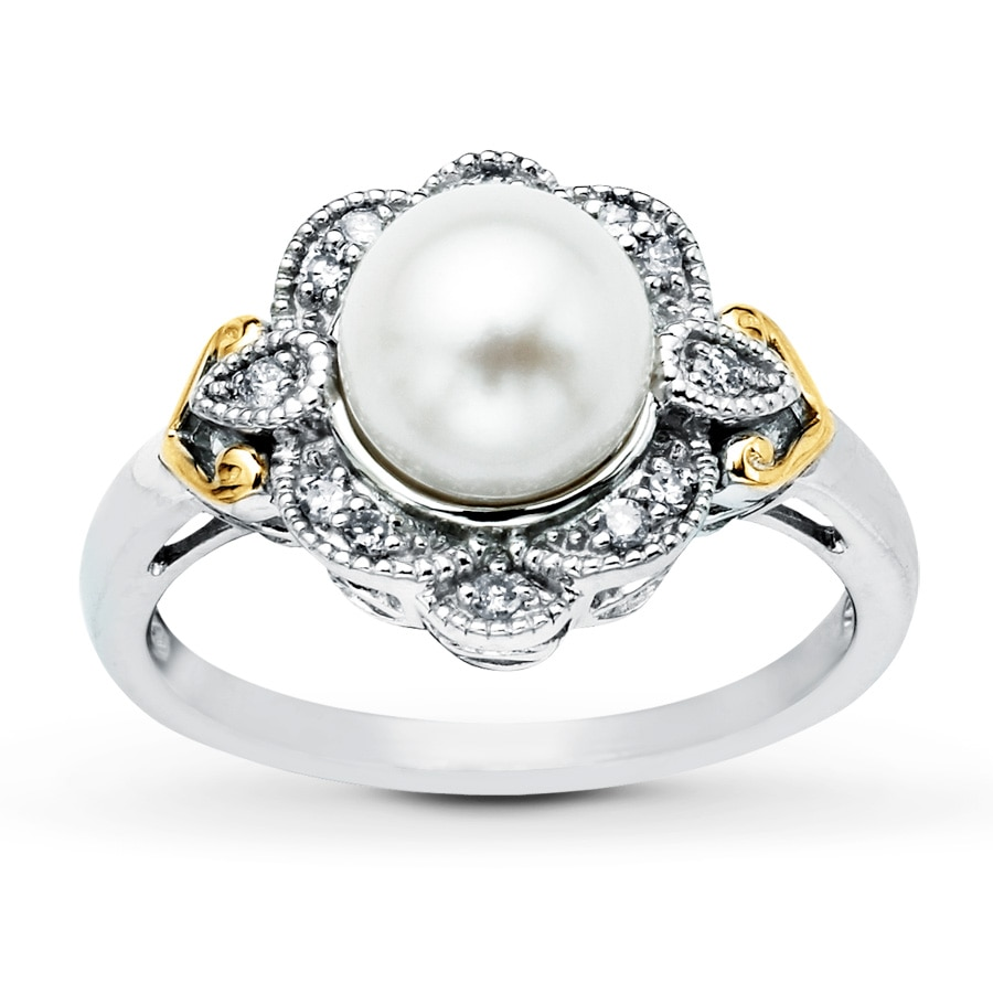 jared cultured pearl ring accents sterling