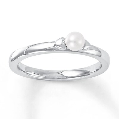 Jared Stackable Heart Ring Cultured Pearl Sterling Silver- Fashion
