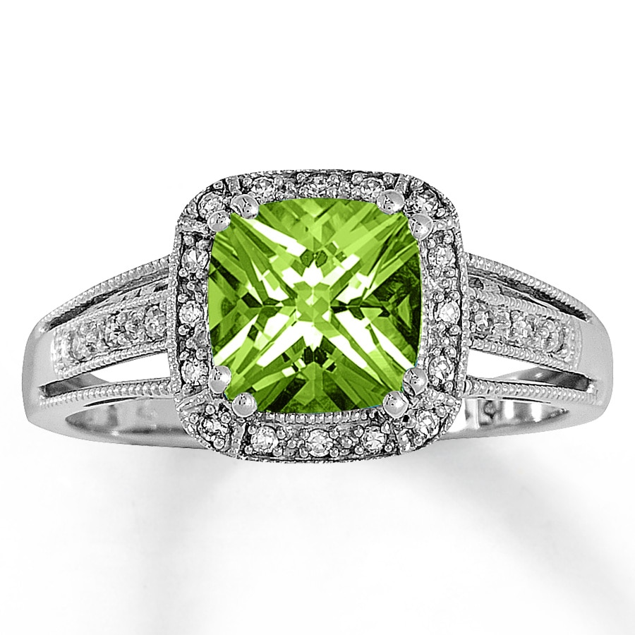 peridot wedding rings peridot ring 1 10 ct tw diamonds 10k white gold 6465
