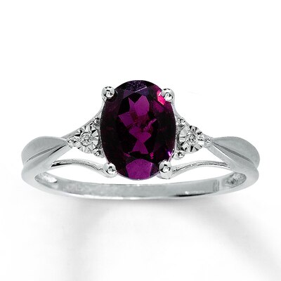 Garnet Ring Oval with Diamonds 10K White Gold
