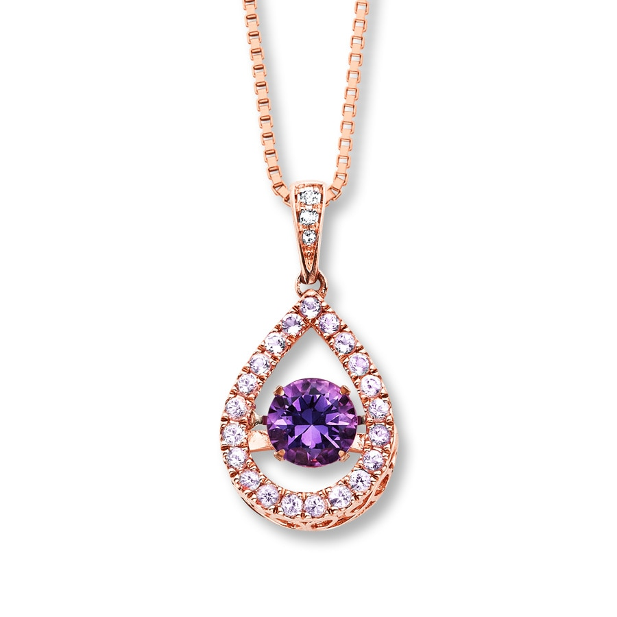 Jared Colors in Rhythm Necklace Amethyst Diamonds 14K Rose Gold