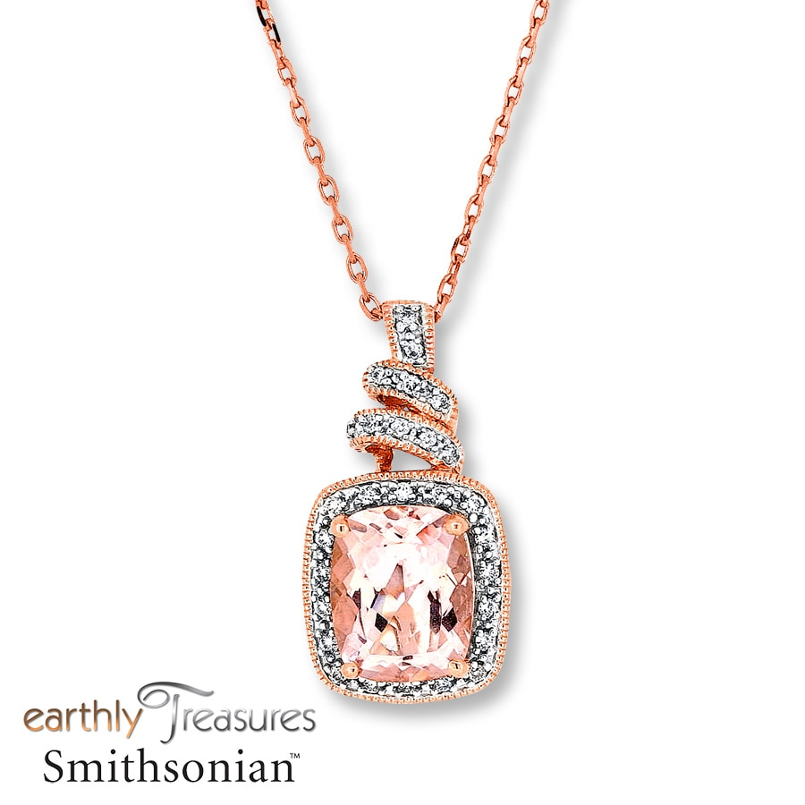 necklace pendant star peacock ct gold item morganite white diamond pink oval light