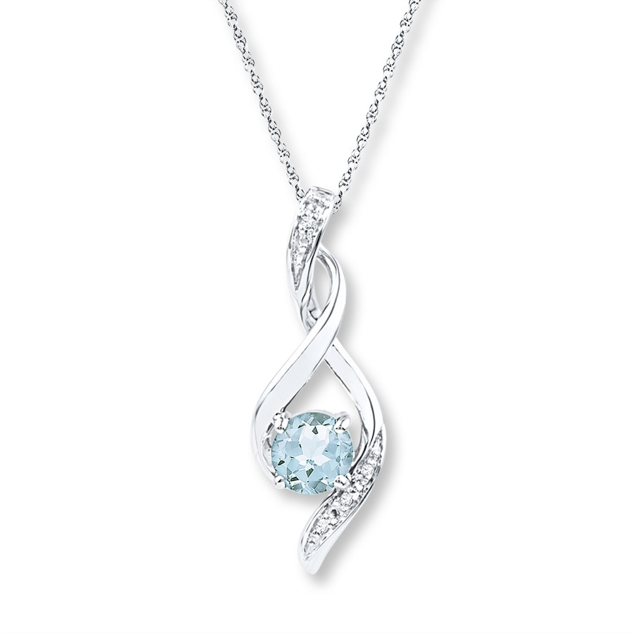 Jared Aquamarine Necklace Diamond Accents Sterling Silver