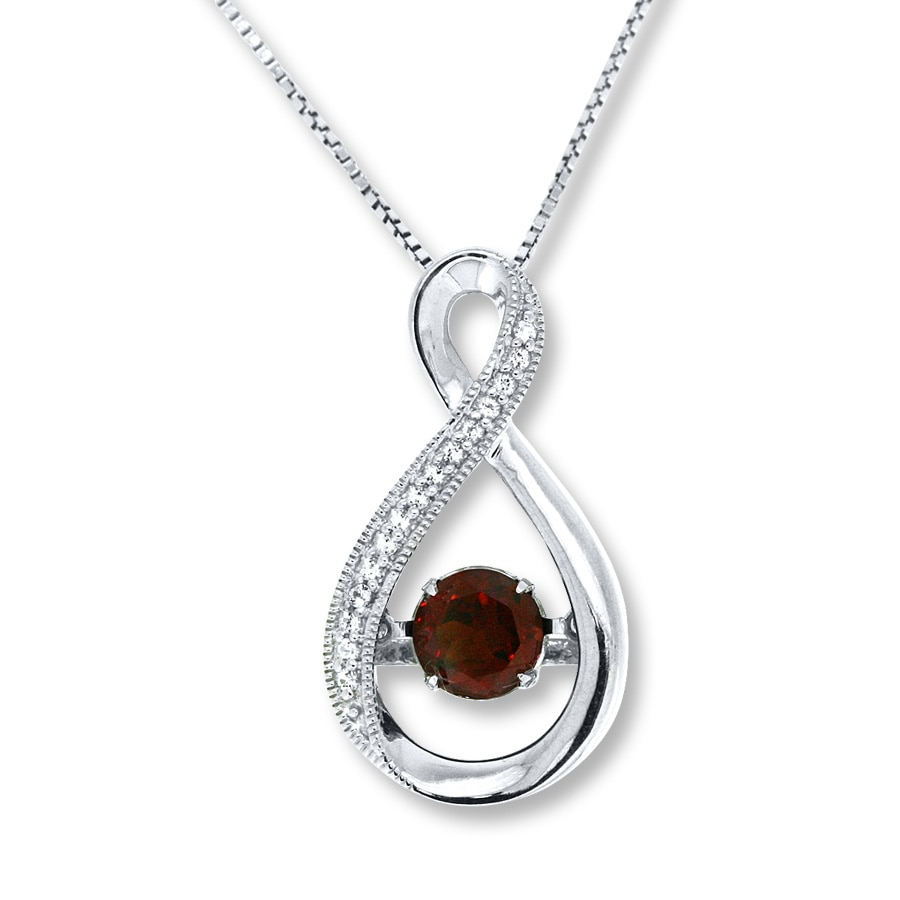 jared colors in rhythm necklace garnet white topaz