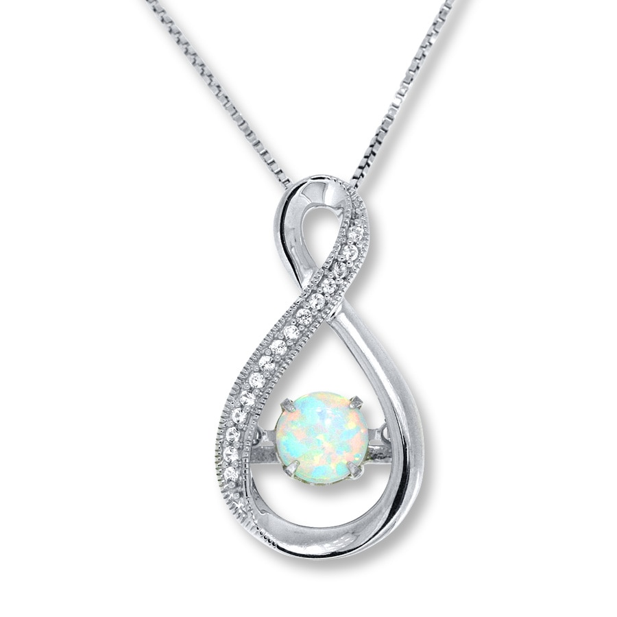 Jared Colors in Rhythm Necklace LabCreated Opal Sterling Silver