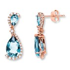 Aquamarine Earrings 1/4 ct tw Diamonds 10K Rose Gold