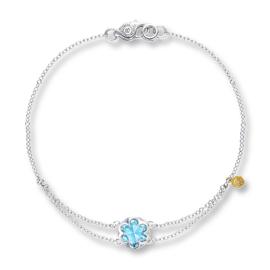 Tacori Blue Topaz Bracelet Sterling Silver 18k Yellow Gold