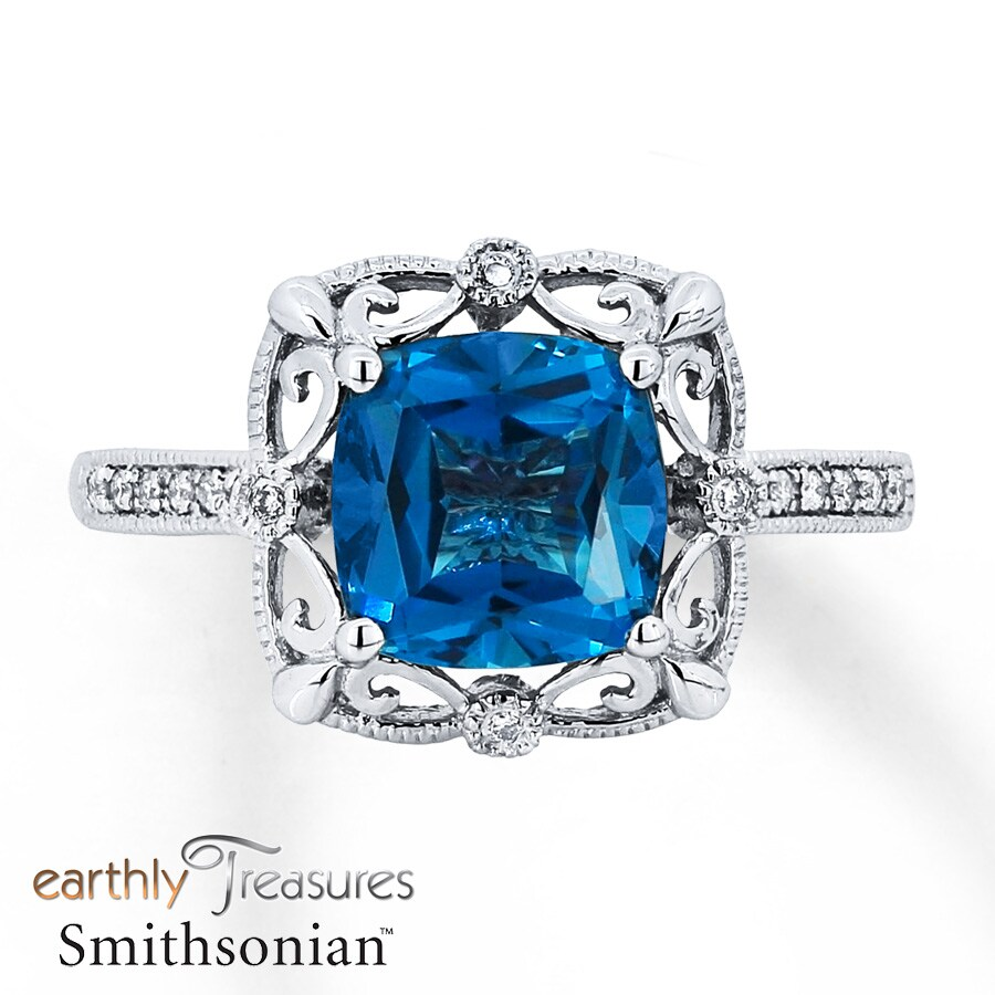 Jared Blue Topaz Ring 115 ct tw Diamonds 14K White Gold