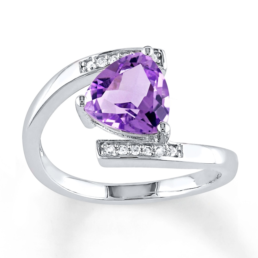 Jared Amethyst Ring 1 20 ct tw Diamonds Sterling Silver