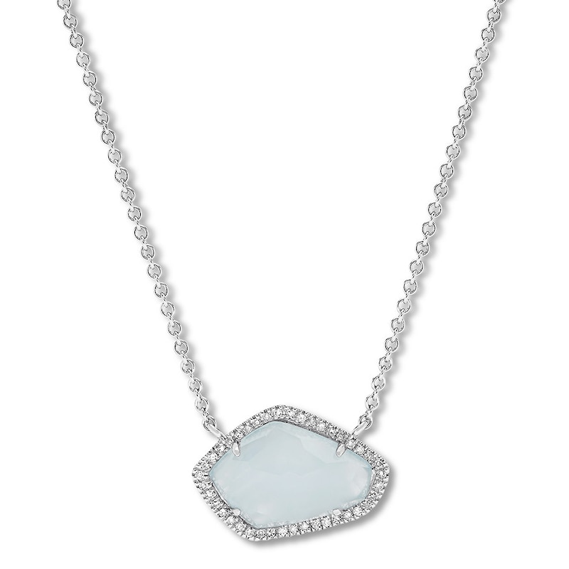 Aquamarine Necklace 1/6 ct tw Diamonds Sterling Silver