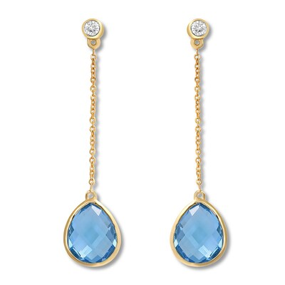 Blue Topaz Drop Earrings 1/10 carat tw Diamonds 10K Yellow Gold