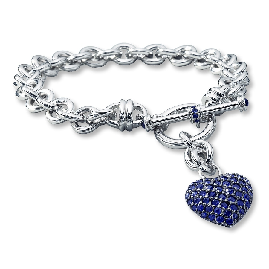 Jared LabCreated Sapphire Dangling Heart Bracelet Sterling Silver