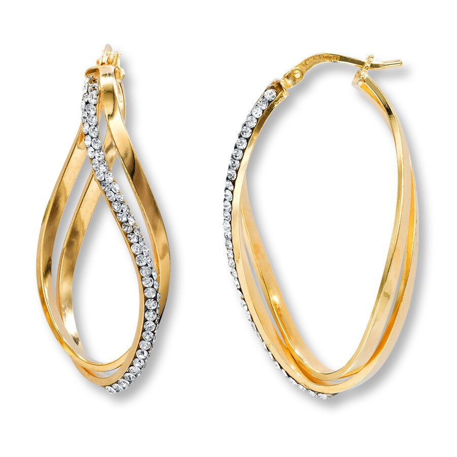 Twist Hoop Earrings Clear Crystals Sterling Silver 14k Gold
