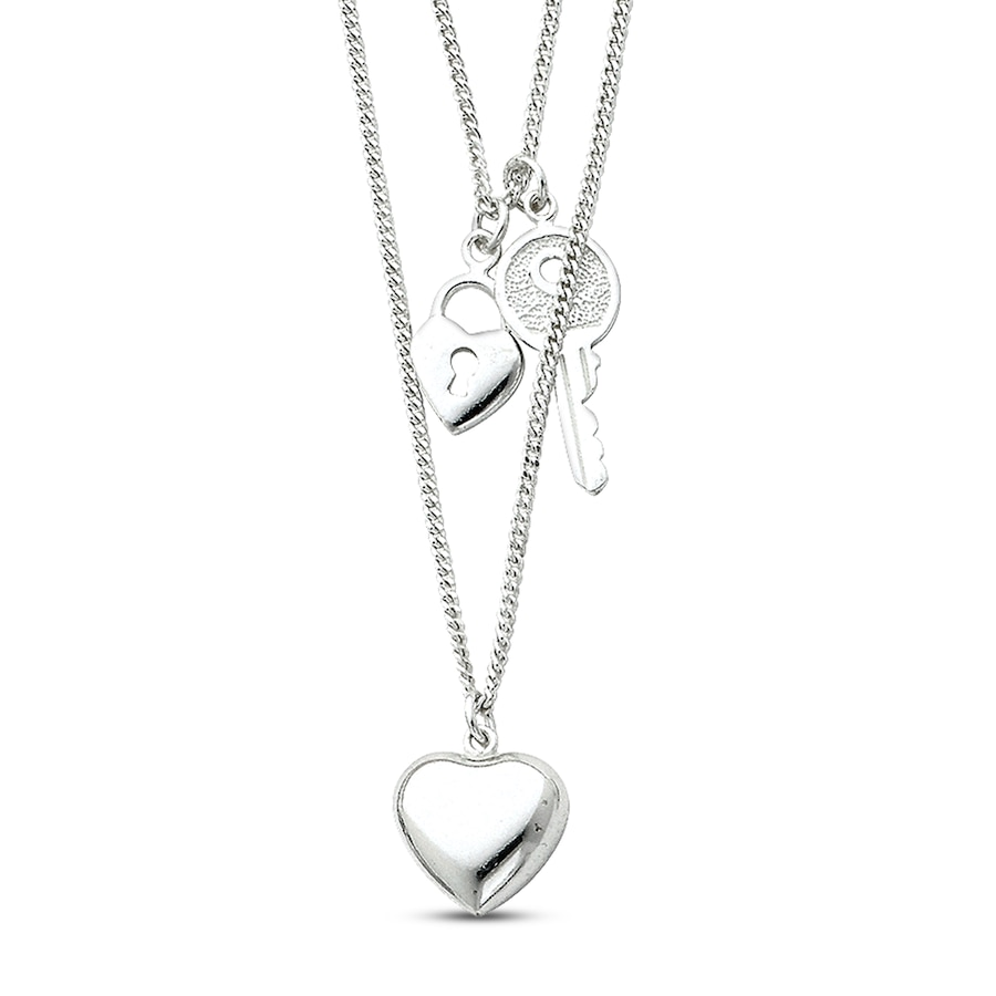 Heart Amp Key Necklace Sterling Silver 504794304 Jared
