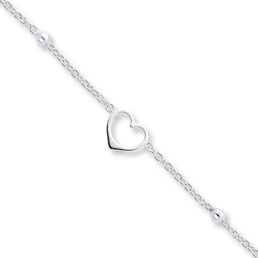 bracelet double watches shipping heart jewelry gold ankle white anklet today free inch silver freeform overstock strand product