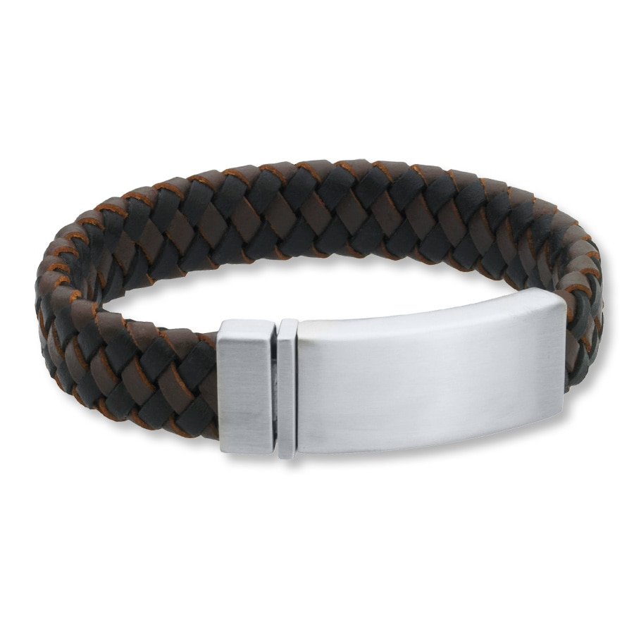 Men S Id Bracelet Leather Stainless Steel