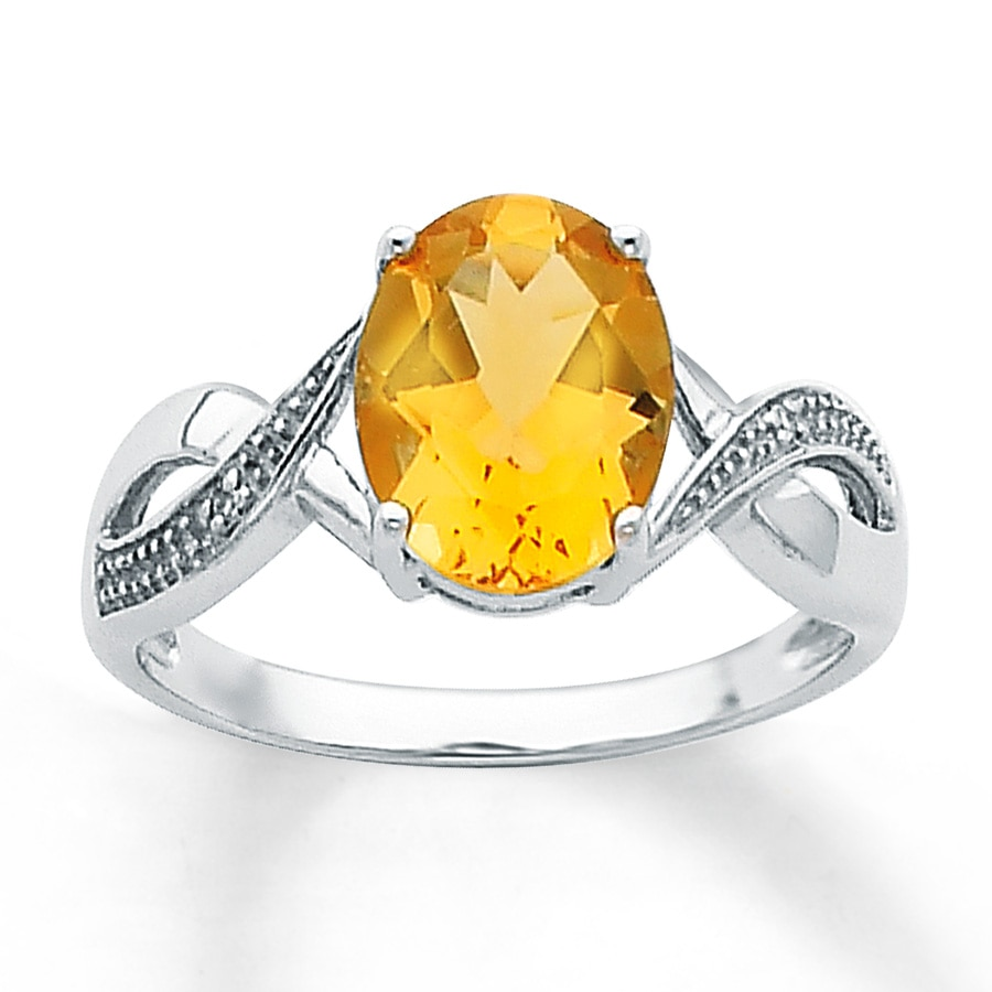 Jared - Citrine Ring Oval-cut with Diamonds Sterling Silver