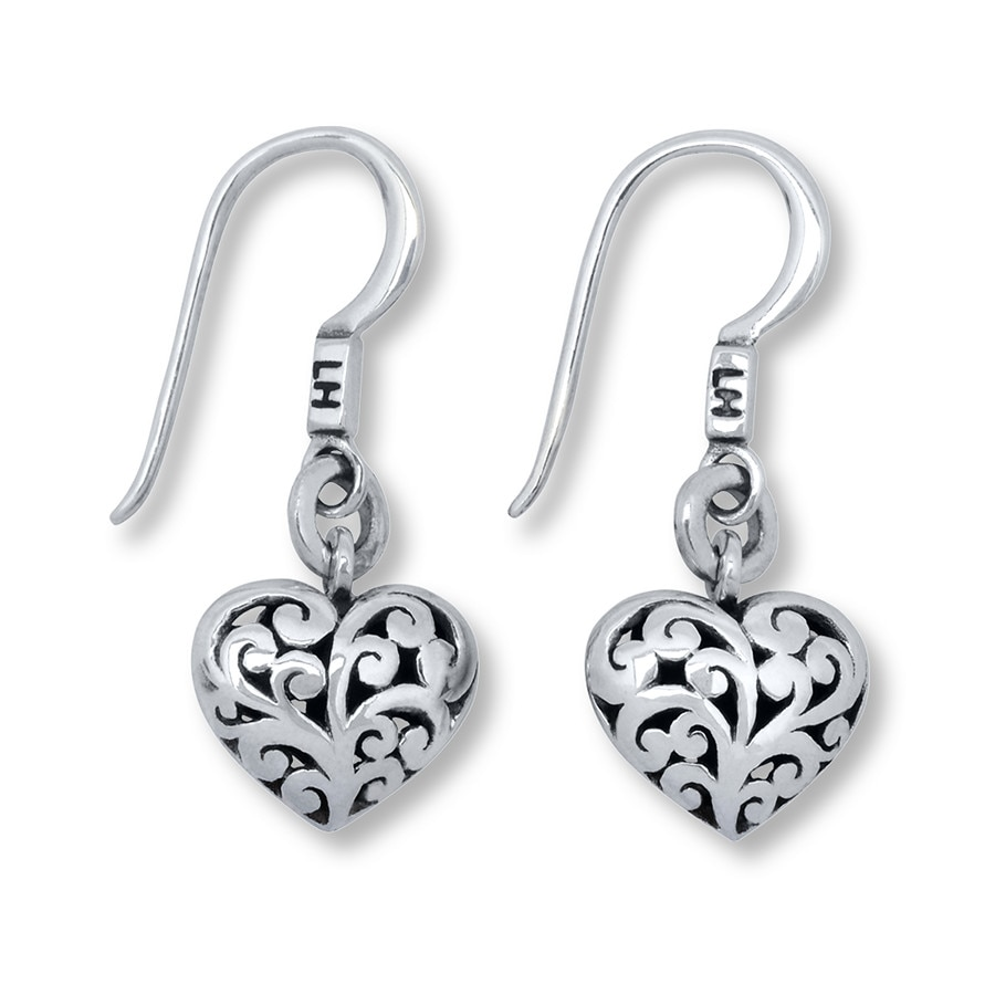 Jared Lois Hill Heart Earrings Sterling Silver