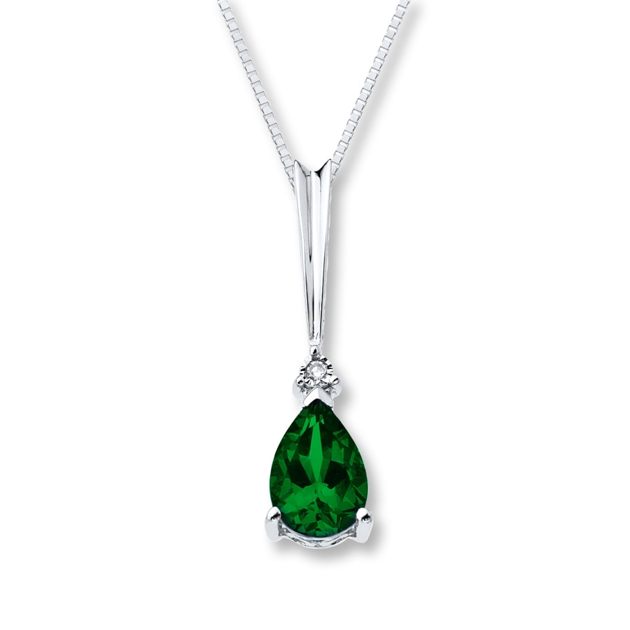 Jared LabCreated Emerald Necklace with Diamond Sterling Silver