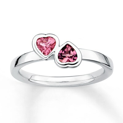 Jared Stackable Heart Ring Pink Tourmalines Sterling Silver- Fashion