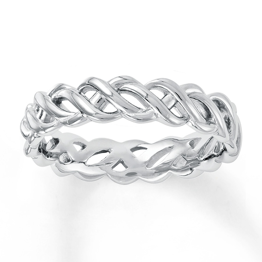 Jared Stackable Ring Braided Design Sterling Silver