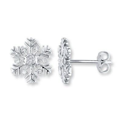 Jared Snowflake Earrings 1/20 ct tw Diamonds Sterling Silver- Stud