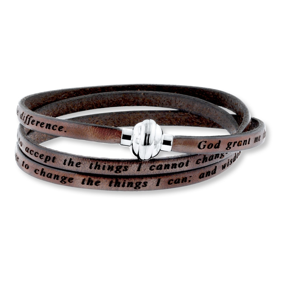Jared Serenity Prayer Bracelet Brown Leather Stainless Steel