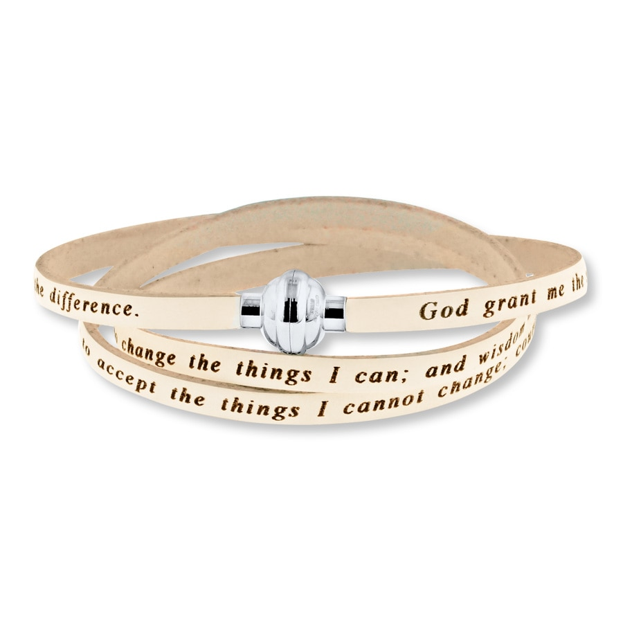 Jared Serenity Prayer Bracelet White Leather Stainless Steel