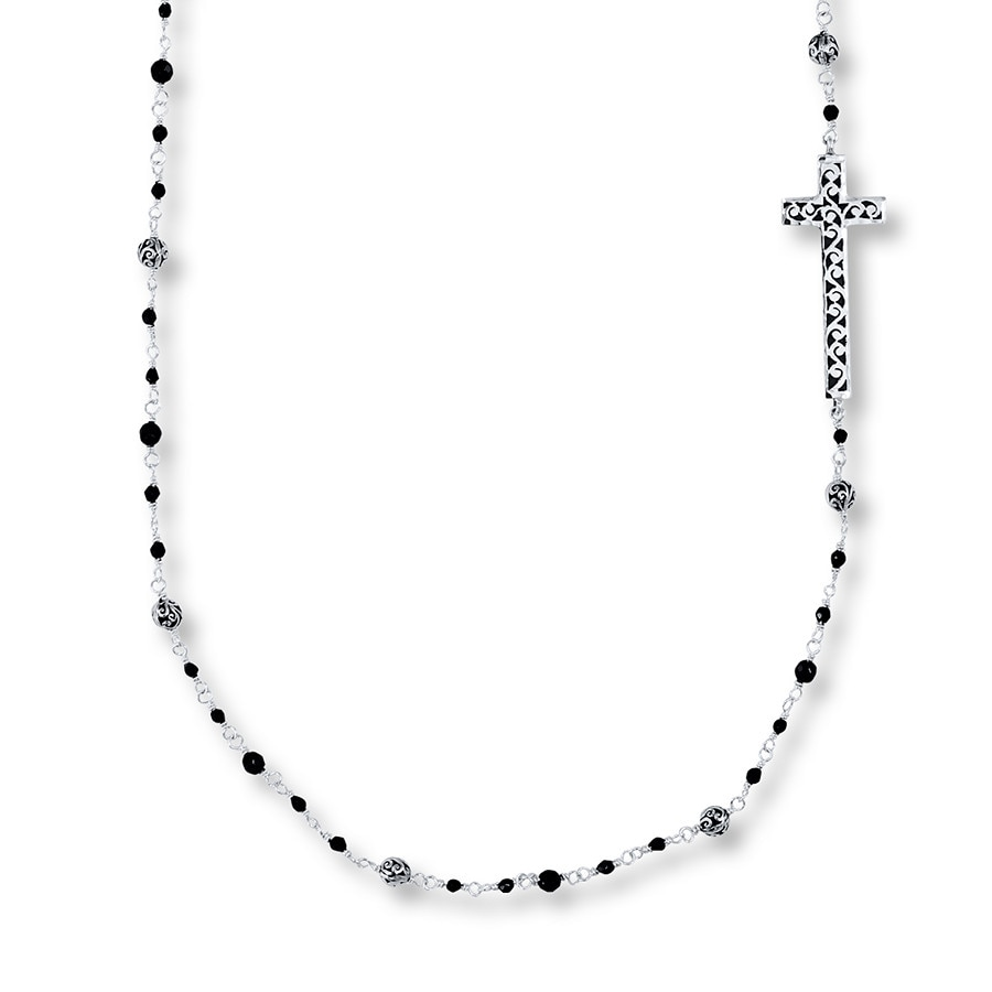 Jared Lois Hill Cross Necklace Onyx Beads Sterling Silver