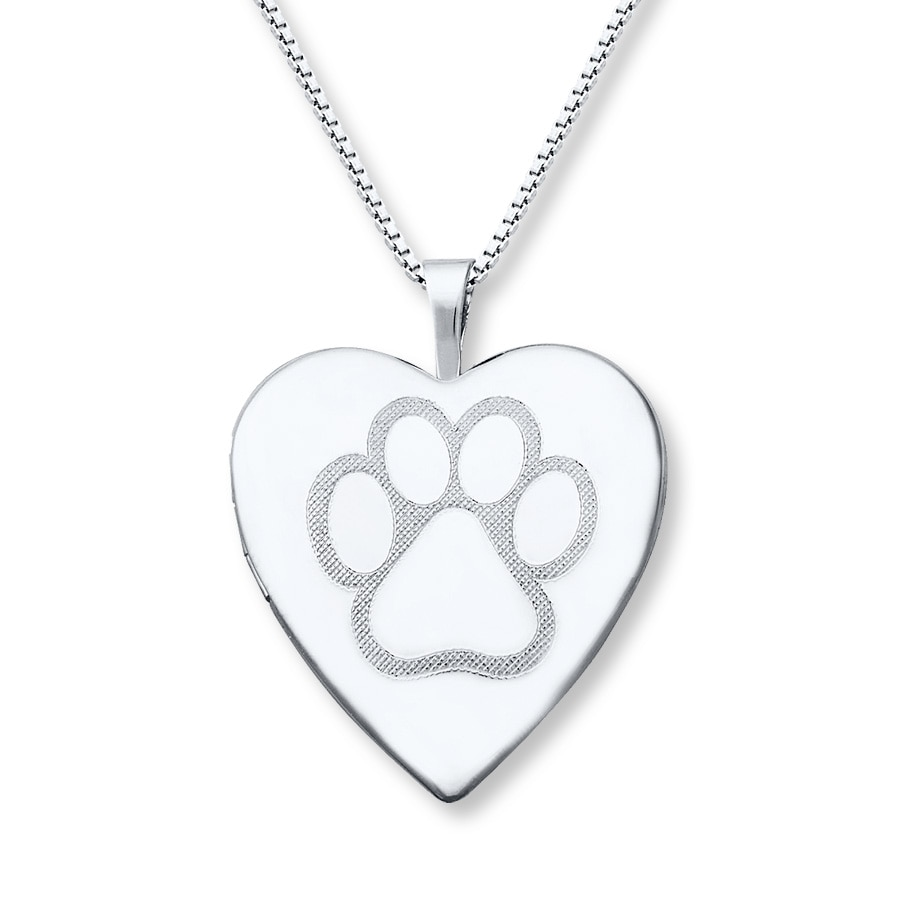 pendant dog paw locket love heart photo girls print my animal collections products lockets necklace prints