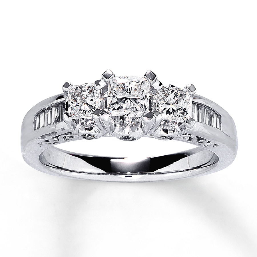 Jared ThreeStone Diamond Ring 1 ct tw Princesscut 14K White Gold