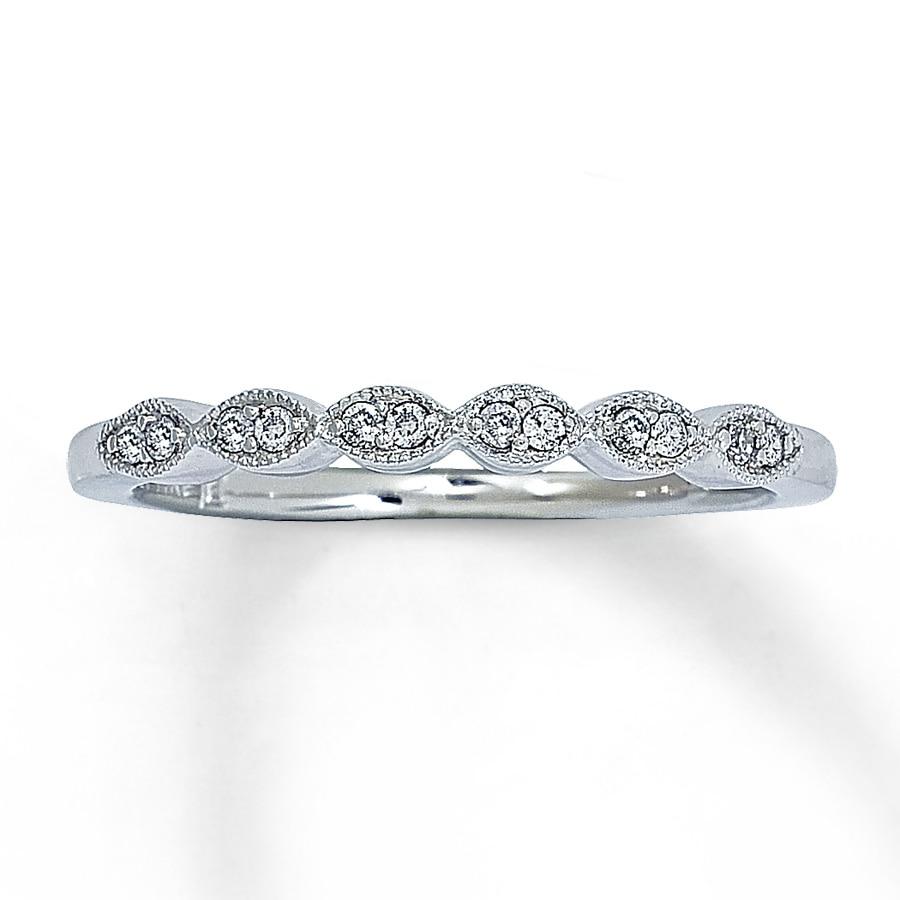 Diamond Ring 1 10 Ct Tw Round Cut 14k White Gold