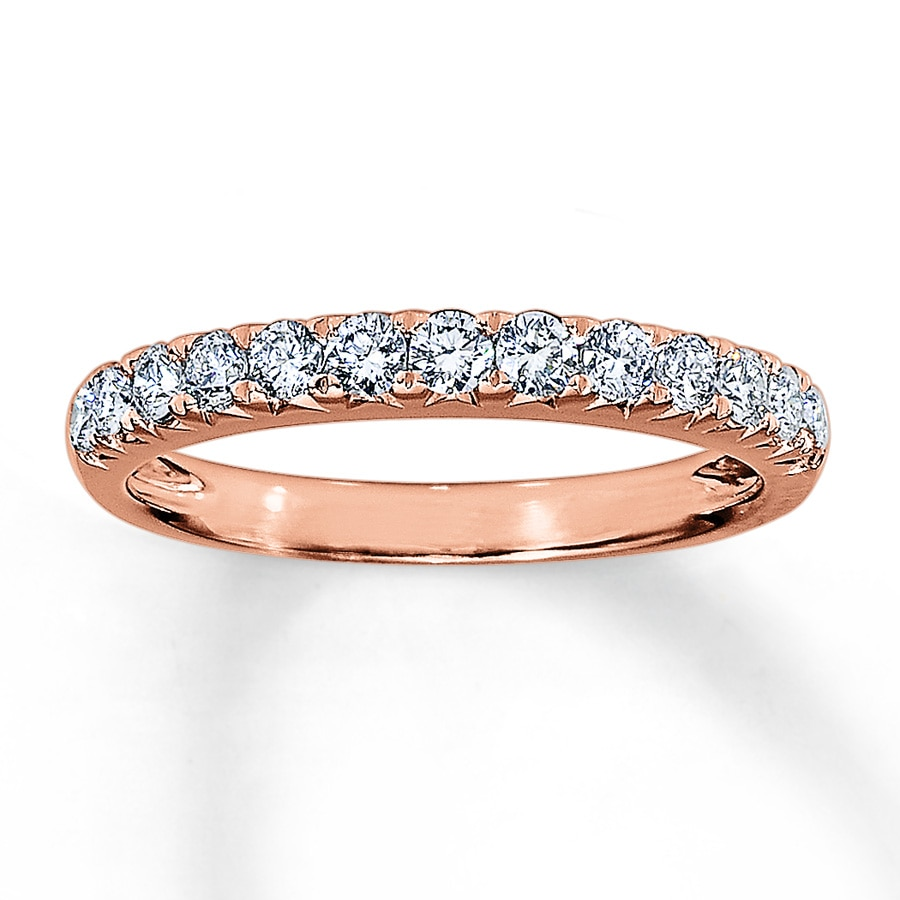 bands diamond wedding rose band gold anniversary