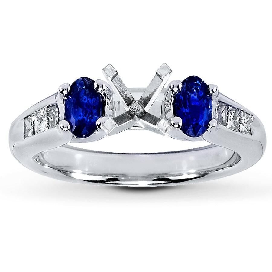 diamond ring setting with diamonds  u0026 sapphires 14k white gold - 560573901