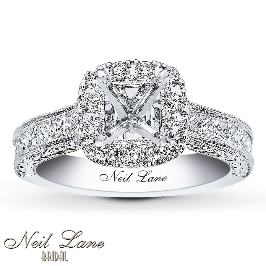 neil lane emerald emeraldcut white p ring diamond v bridal frame gold w tw collection cut ct engagement ae t